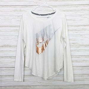 Nike | White/Rose Gold Graphic Long Sleeve Top
